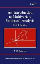 An Introduction To Multivariate Statistical Analysis 3rd Int'l Edition