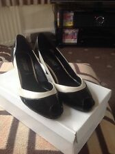 Black/cream Patent shoes by New Look, size 5