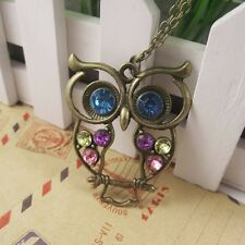 Tri-color Crystal Inlaid Hollow Carved Owl Necklace Owl Pendant.