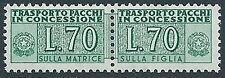 1955-61 ITALIA PACCHI IN CONCESSIONE STELLE 70 LIRE MNH ** - RR13758