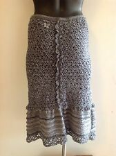 Odd Molly'32' Grey Crochet Knit Cotton Skirt Sz1 Sz S