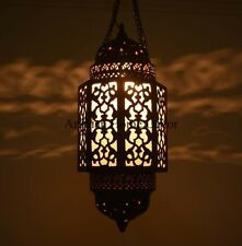 """Handcrafted 18"""" Tall Moroccan Middle Eastern Brass Hanging Lantern Lamp"""