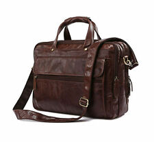 High Quality Brown Genuine Leather Men Handbag Portfolio Briefcase Laptop Bag