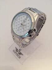 F&MB469 Silver Tone Diamanté Women's Fashion Bracelet Softech Quartz Wrist Watch