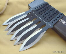 """9"""" OVERALL PERFECT POINT TWO TONE THROWING KNIVES W/ NYLON SHEATH - 6 PCS SET"""