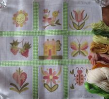 alexa handpainted cheery spring needlepoint ribbon pillow canvas  + wool yarn
