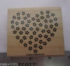 Stampin Up Daisy Crazy Floral Filled Heart One Wood Mounted Stamps @2004