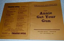 PROGRAMME, NORWICH THEATRE ROYAL, 22nd-27th FEBRUARY 1971, 'ANNIE GET YOUR GUN'