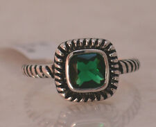 SQUARE EMERALD MAY BIRTHSTONE RING  Genuine Sterling Silver.925 Size 7