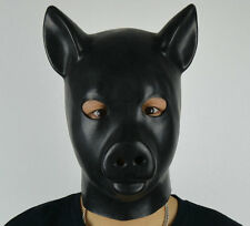 Latex Rubber Black Fetish Pig Mask Full Head Gum Hood Piggy Animals Bondage Suit