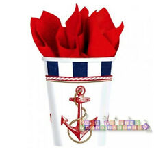 SUMMER Nautical Anchors Aweigh 9oz PAPER CUPS (8) ~ Birthday Party Supplies Blue