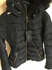 ZARA Navy Quilted Anorak Coat Fur Hood Collar Gold Zip Puffer Jacket Small S