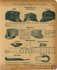 1920 PAPER AD Miners' Hard Boiled Cap Hat Gold Pan Panning Minelite