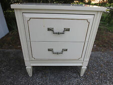 Nightstand Bed Table Cottage Shabby Chic French Country Hollywood Regency White