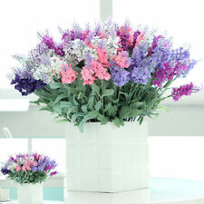 10 Heads Pink Artificial Silk Lavender Flower Bouquet Home Wedding Party Decor