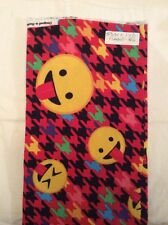 "EMOJI W/HOT PINK HOUNDSTOOTH Non-flammable FlannelFabric 36"" By 42"" Wide"