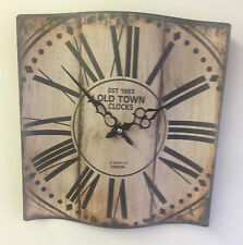 Rustic Brown Shabby Chic London Curved Metal Wall Clock ~ Roman Numerals  20180