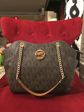 NWT MICHAEL KORS PVC JET SET TRAVEL LARGE CHAIN SHOULDER TOTE BAG IN BROWN