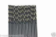 "20 PACK LEFT HAND BLACK & GOLD HIGH SPEED STEEL DRILL BITS 1/8"" USA"