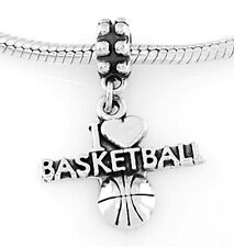 STERLING SILVER I LOVE (HEART) BASKETBALL EUROPEAN STYLE DANGLE BEAD