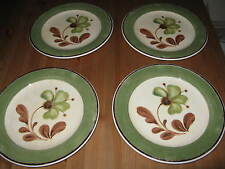4 -Pier 1 Italy Earthenware Dinner Plates/Chop Sophie Pattern Green Band 11-3/4""