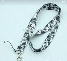 Black and White Spider Web Pattern Key Chain Lanyard ID Holder - Brand New