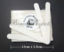 (50pcs) Mini Manicure Nail Files White 80/80 Grit Wood Center 13cm Travel Size