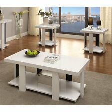 Furniture of America Haven 3 Piece Coffee Table Set in White