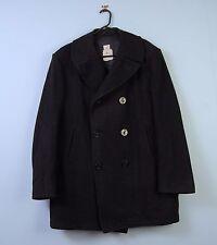 """Vintage US Navy Pea Coat in Black Wool Overcoat Sterlingwear DSCP 46L 46"""" Long"""