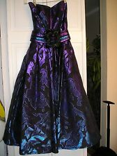 PATRICIA RHODES COUTURE Iridescent  Blue Purple strapless gown size 4