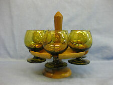 6 Vintage Small Amber Brandy / Liquor Glasses On Wooden Stand ~ Olive? ~ Retro
