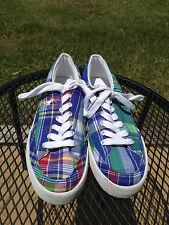 Polo Ralph Lauren  Boys Shoes Size 8.5 D Blue Plaid