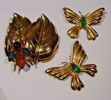 Vintage Coro Bug On Leaf Brooch & Butterfly Brooches