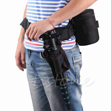 Adjustable Photograph Camera Waist Belt Sling Hang Strap Holder Lens Bag Black