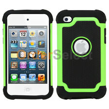 Hybrid Rugged Rubber Matte Hard Case Cover for Apple iPod Touch 4 4th Gen Green
