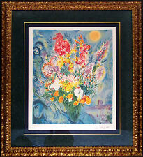 "Marc Chagall ""Bouquet"" Custom Framed Limited Edition Lithograph Facsimile Signed"