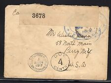 Great Britain Purfleet Canada Ship Depot Postage Due to US Censor 1917 L27