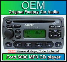 Ford Focus CD MP3 player, Ford 6000 MP3 car stereo + radio removal keys & code