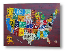 "License Plate Map of the USA Metal Reproduction Print 30"" x 20"""