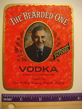 LIQUOR LABEL: THE BEARDED ONE ~ Charcoal Filtered VODKA ~ Louisville, KENTUCKY