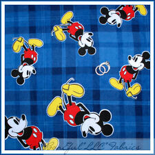 BonEful Fabric FQ Flannel Baby Boy RARE Disney Mickey Mouse Red White Blue Plaid