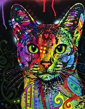 ABYSSINIAN CAT PSYCHEDELIC  ART IMAGE A4 Poster  Laminated Print