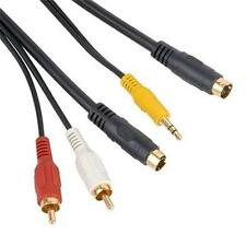 4 Pin S-Video 3.5mm Audio to svideo 2 RCA Cable Adaoter For PC TV 10FT 3Meters