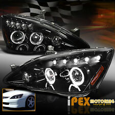 [Shiny Black + Smoked Lens] 2003-2007 Honda Accord Halo Projector LED Headlights