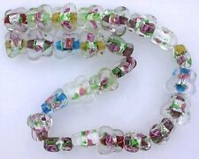 25 Assorted Color Butterfly Rose Flower Bead Glass Foil Lampwork 13 Inch Strand