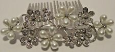 Pearl Rhinestone Flowers Silver Wire  Hair Comb Pageant Prom Wedding NWT L623