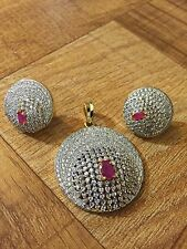 Designer Ruby Pink Indian Gold Plated White Cubic Zirconia CZ AD Pendant Earring
