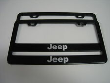 (2) BLACK Coated Metal License Plate Frame - JEEP