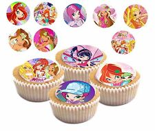 Winx Fairy Club College Edible Cup Cake Toppers, 24 Precut Fairy Bun Decorations