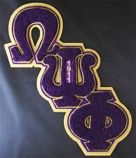 """OMEGA PSI PHI Chenille Diagonal Letters Patch (10 3/4""""h  x  8 1/2""""w) - crest"""